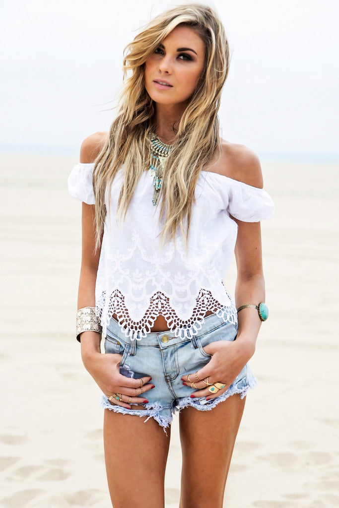 Hannah Crochet Detail Crop Top