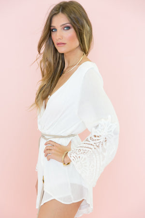Bell Sleeve Crochet Trim Romper - White