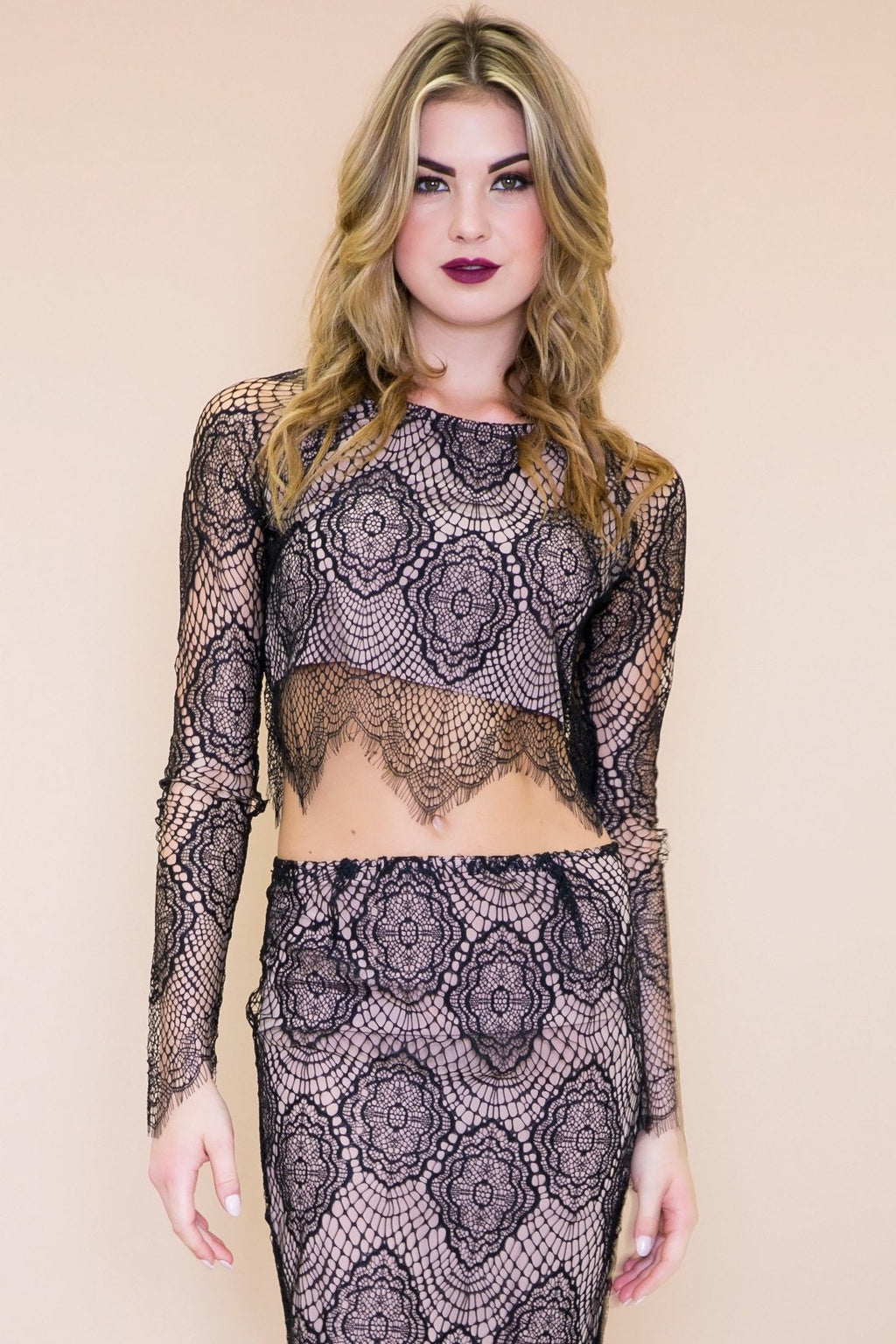 Abi Lace Crop Top - Black - Haute & Rebellious