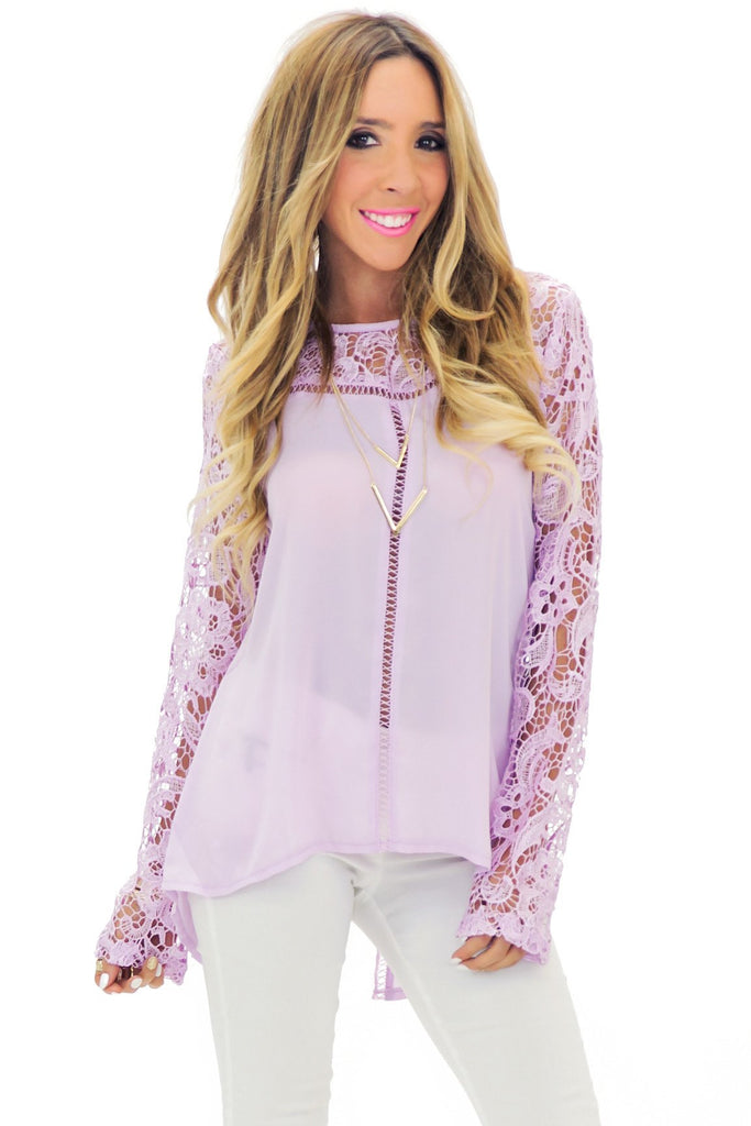 HELENA LACE CONTRAST LONG SLEEVE TOP - Lila