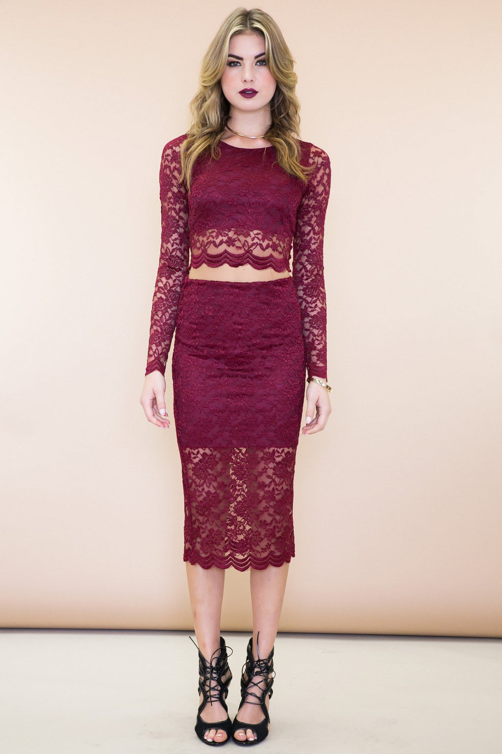 Jade Lace Matching Two-Piece Set - Haute & Rebellious