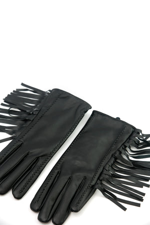 Short Leather Fringe Gloves - Haute & Rebellious