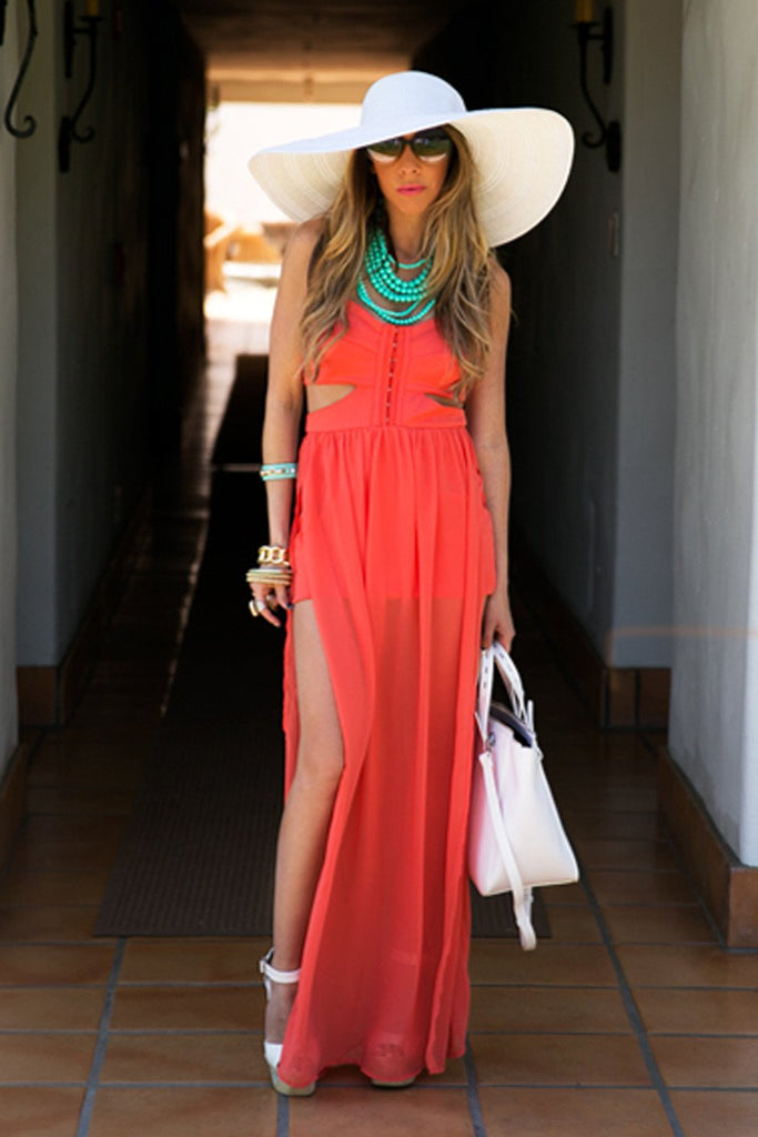 CUTOUT OPEN SKIRT MAXI - Orange - Haute & Rebellious