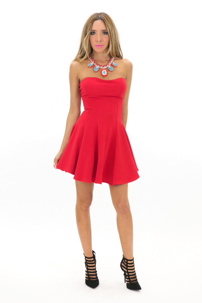 JENET TUBE RUFFLE MINI DRESS - Red