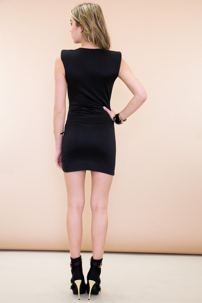 Bristol Shoulder Padded Wrap Dress - Black