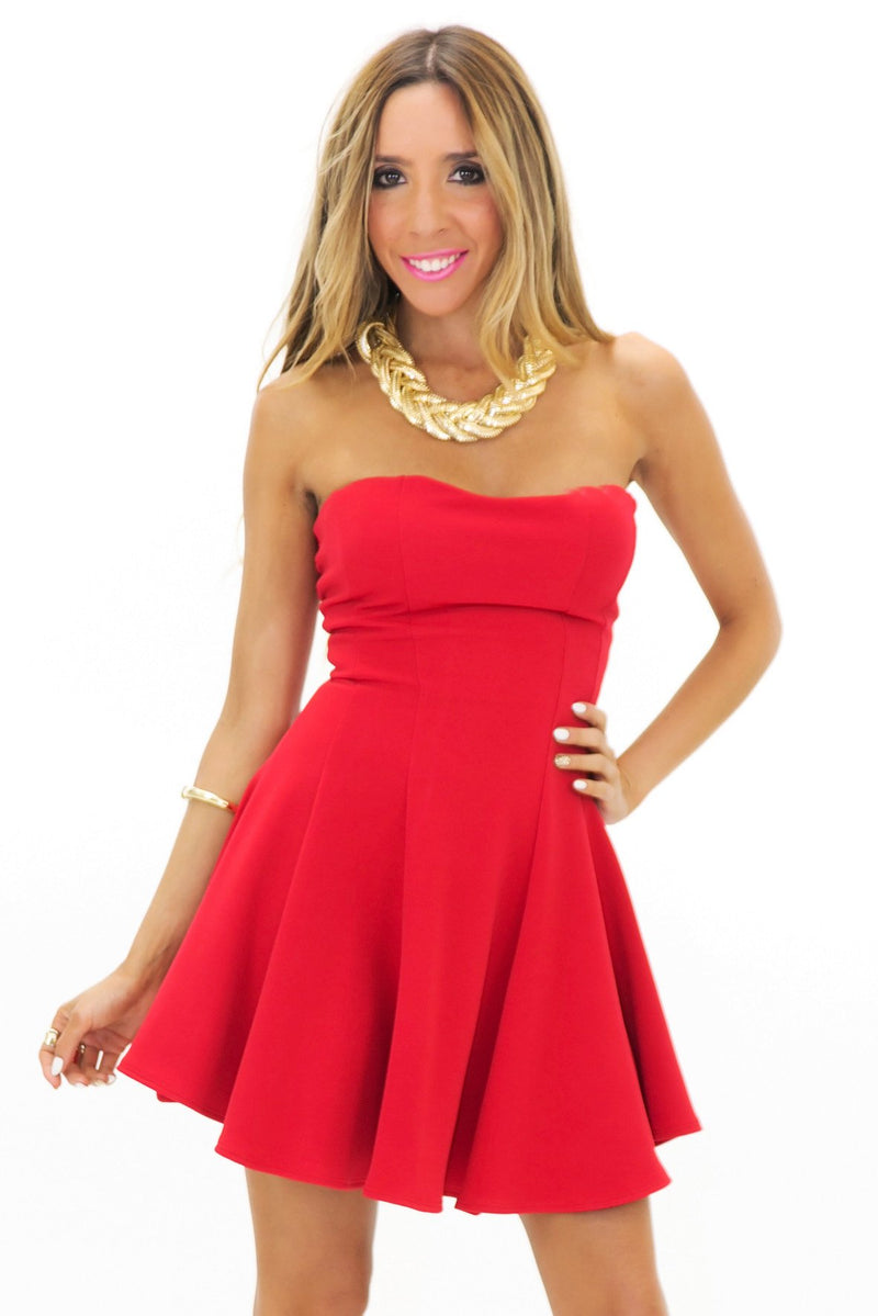 JENET TUBE RUFFLE MINI DRESS - Red - Haute & Rebellious