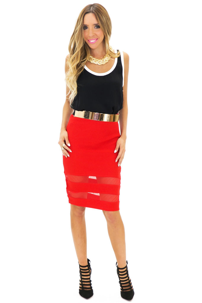 JENETTA MESH CONTRAST PENCIL SKIRT - Red