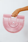 Bamboo Basket Bag - Pink