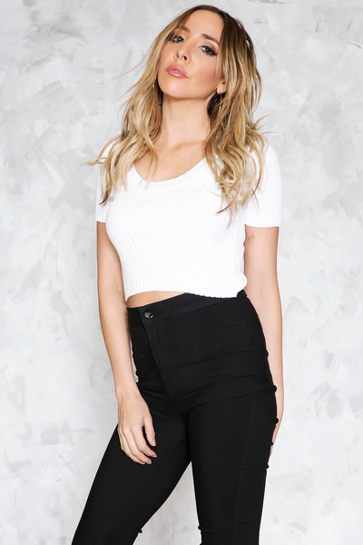 Emma Ribbed Cropped Tee - White