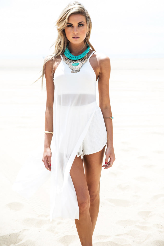 Sharon Sheer Slit Top - White