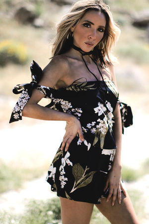 Floral Off-Shoulder Tie-Sleeve Romper /// ONLY 1-M LEFT/// - Haute & Rebellious