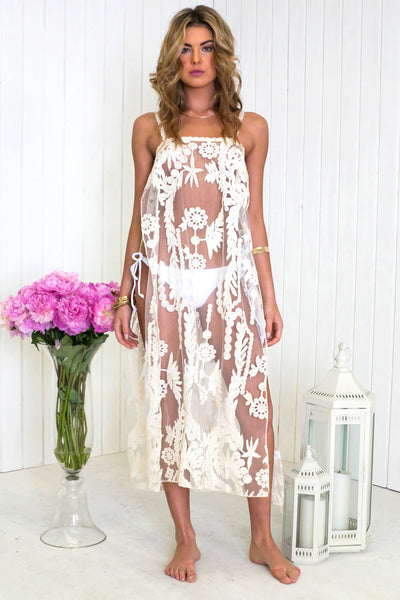 Maya Side-Slit Lace Dress - Ivory - Haute & Rebellious