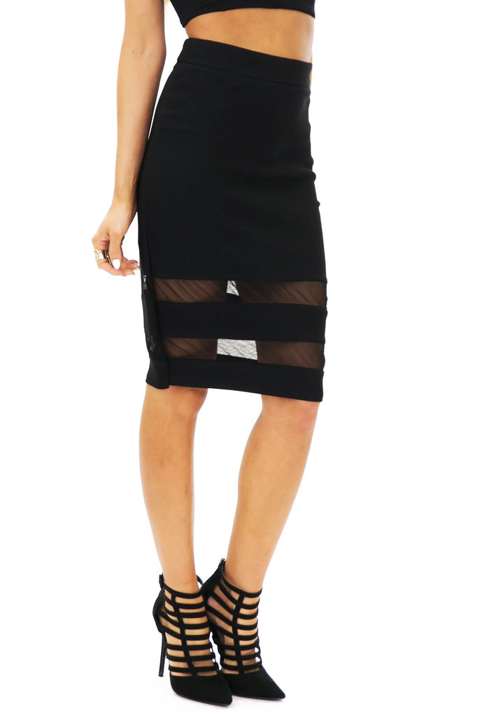JENETTA MESH CONTRAST PENCIL SKIRT - Black