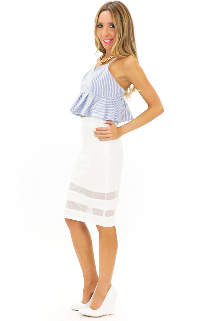 PAUL STRIPED PEPLUM TOP