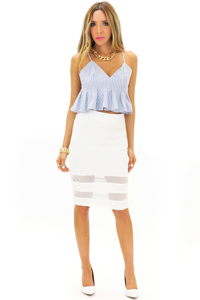 JENETTA MESH CONTRAST PENCIL SKIRT - White