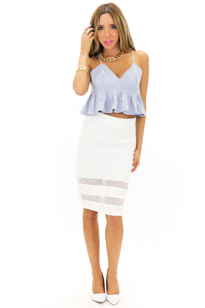 JENETTA MESH CONTRAST PENCIL SKIRT - White - Haute & Rebellious