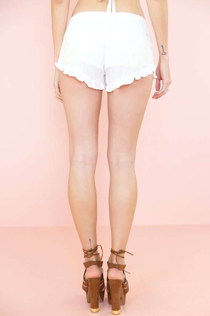 Jaahla Embroidered Linen Shorts