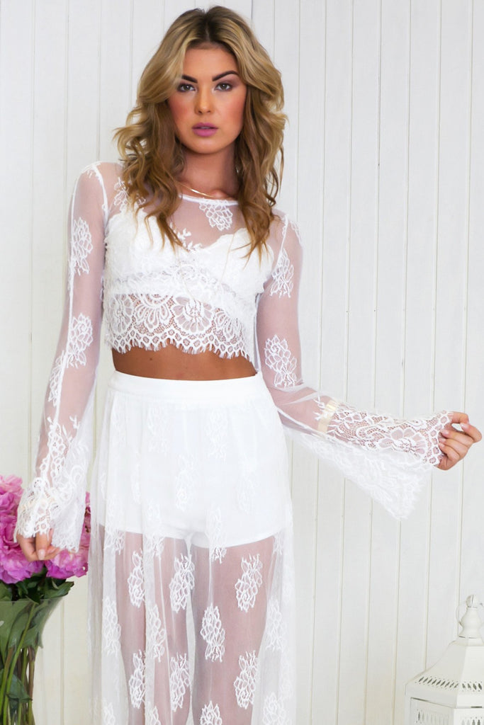 Lahana Lace Long Sleeve Crop Top - White