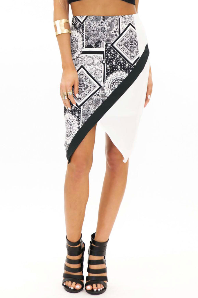 NICKI ASYMMETRIC PATTERN PENCIL SKIRT