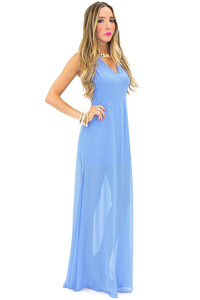 BARE BACK SLIT MAXI DRESS - Haute & Rebellious