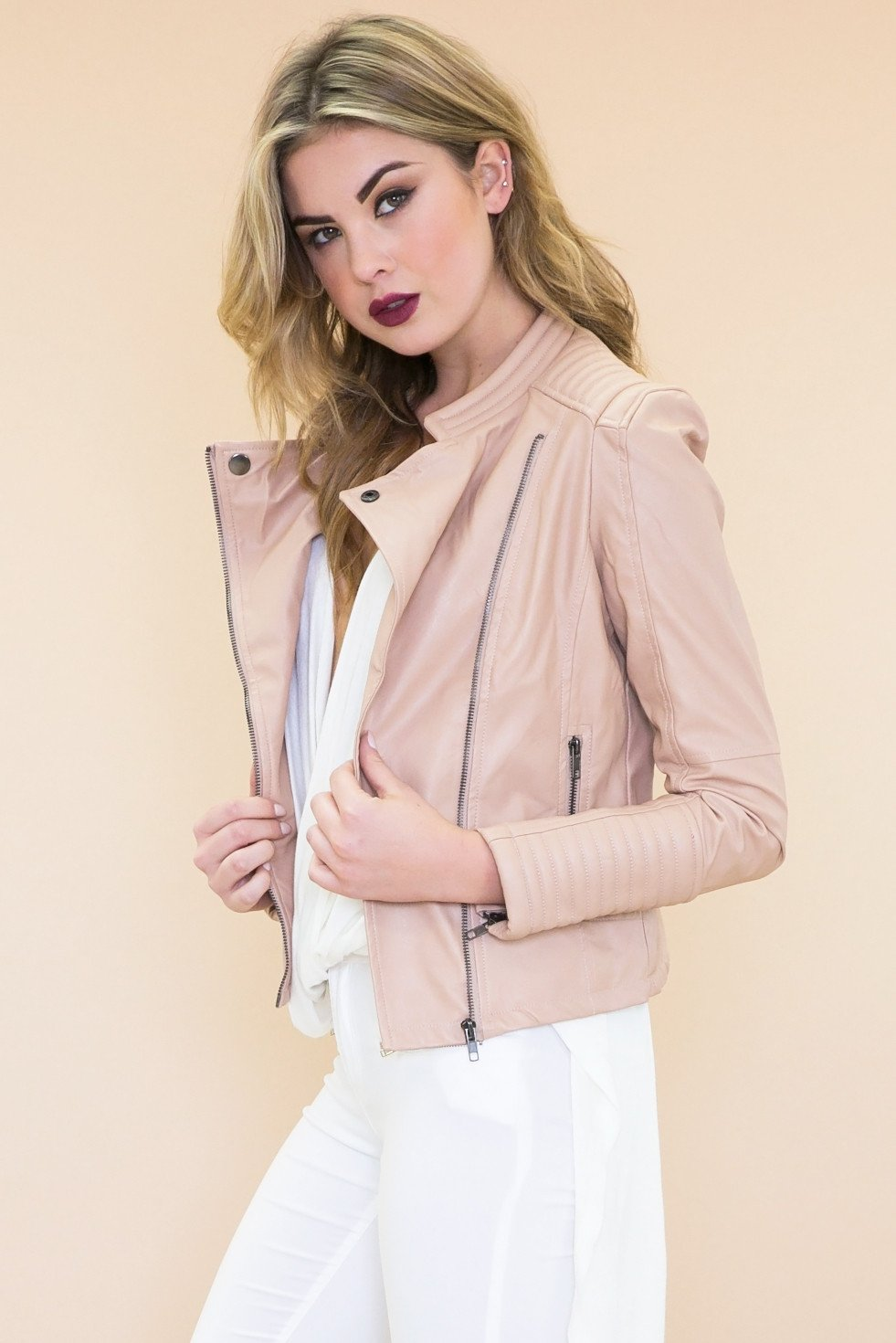 Janet Padded Leather Motorcycle Jacket - Blush - Haute & Rebellious