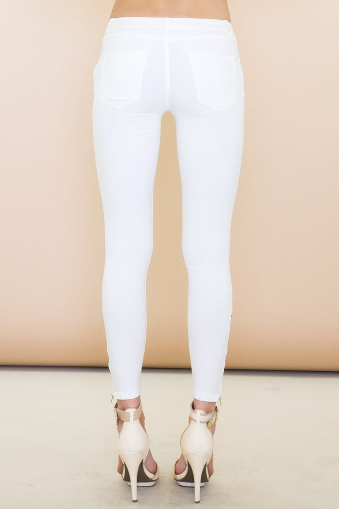 Ender Zippered Legging Jean Pant - White