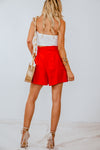 High Waisted Shorts with Belt - Red