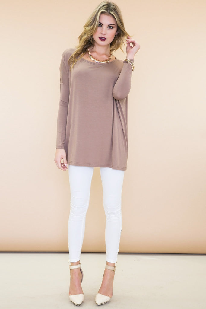 Emma Basic Long Sleeve Tee - Mocha