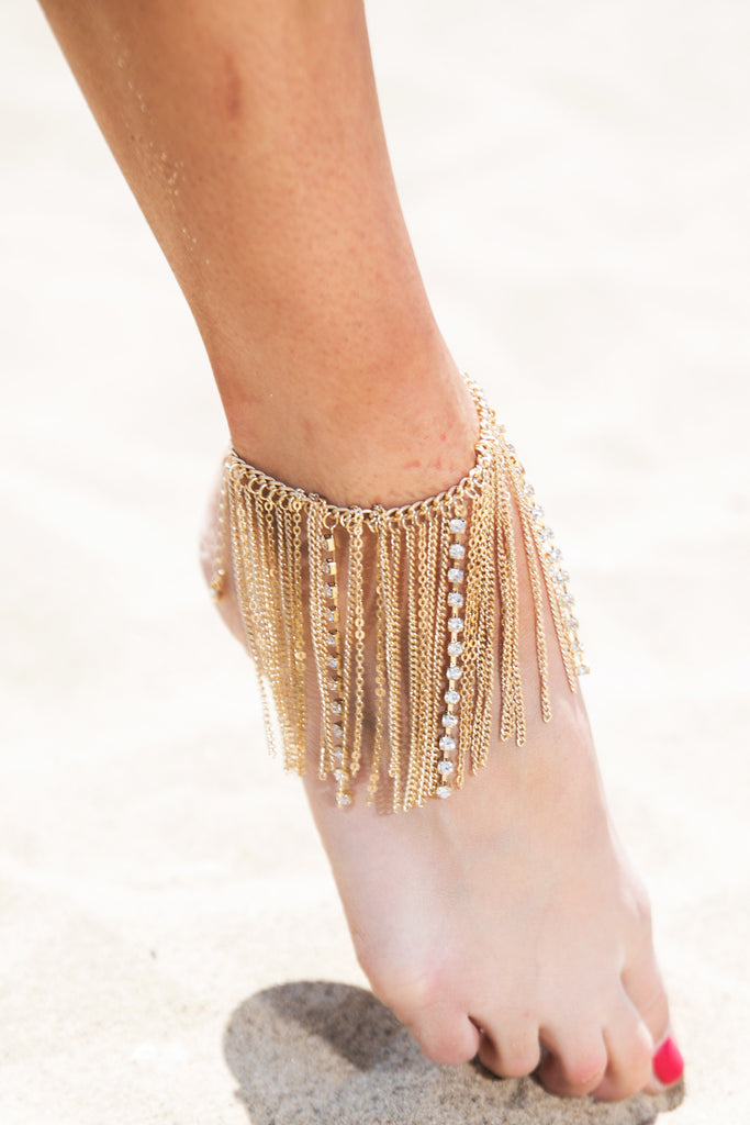 Sindhi Metal Chain Anklet - Gold