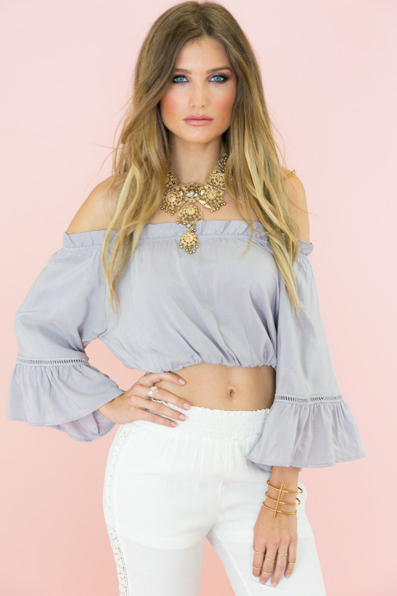 Brandi Bell Sleeve Crop Top - Haute & Rebellious