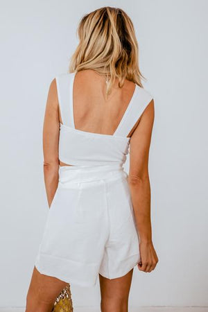 Sleeveless Crop Top with Tie Front - White
