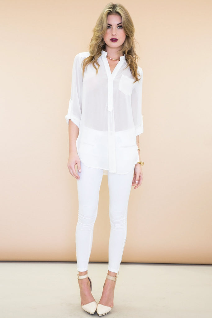 Ender Zippered Legging Jean Pant - White - Haute & Rebellious