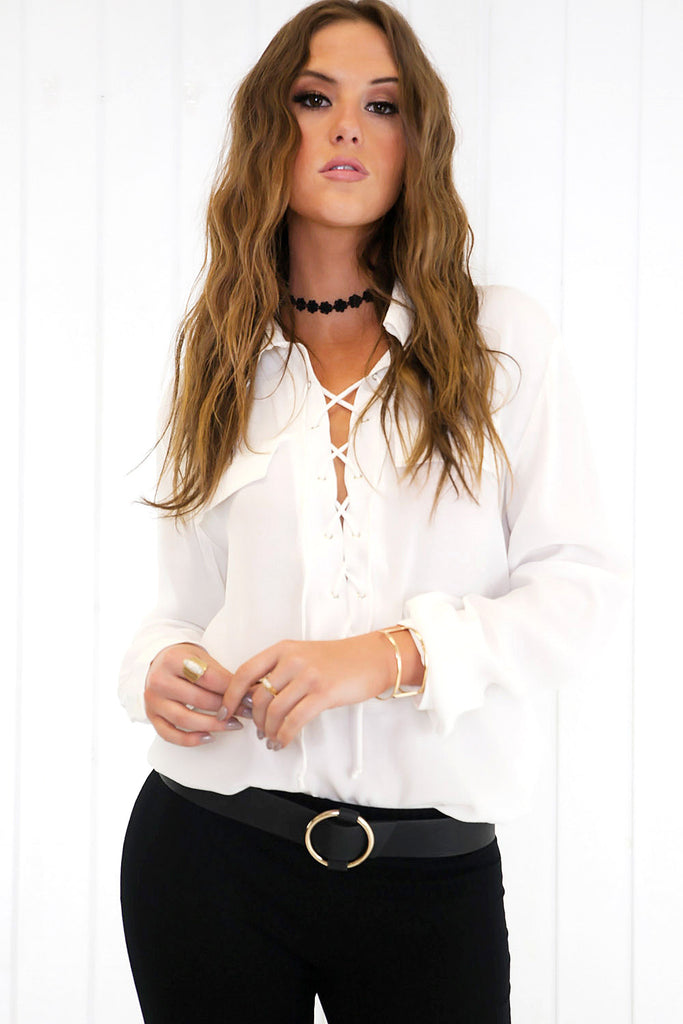 On the Lace Up Blouse - White