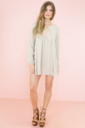 Over The Hill Shift Dress - Stone - Haute & Rebellious