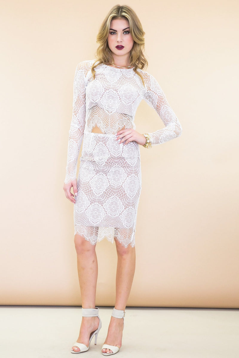 Abi Lace Pencil Skirt - White - Haute & Rebellious