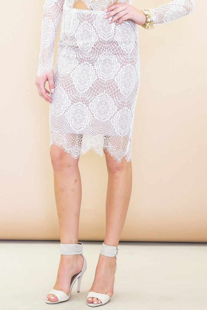 Abi Lace Pencil Skirt - White