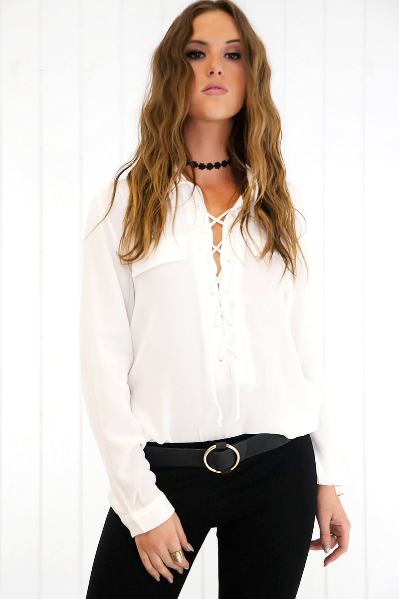 On the Lace Up Blouse - White - Haute & Rebellious