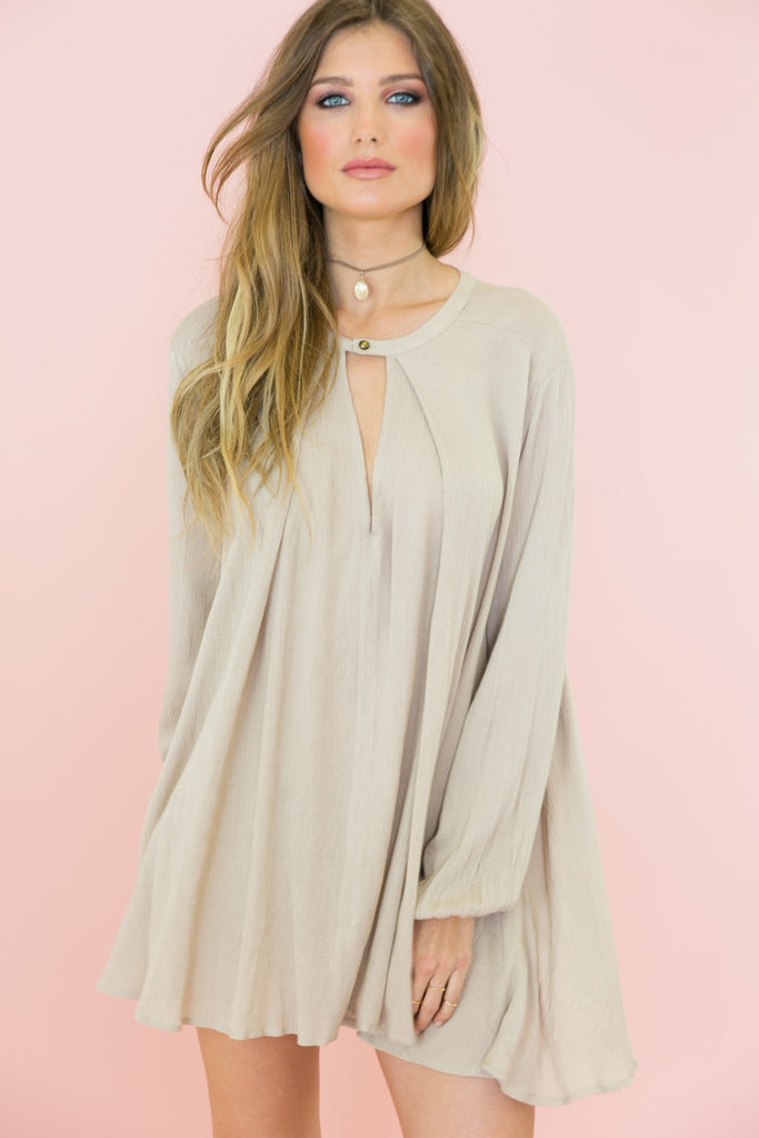 Over The Hill Shift Dress - Stone