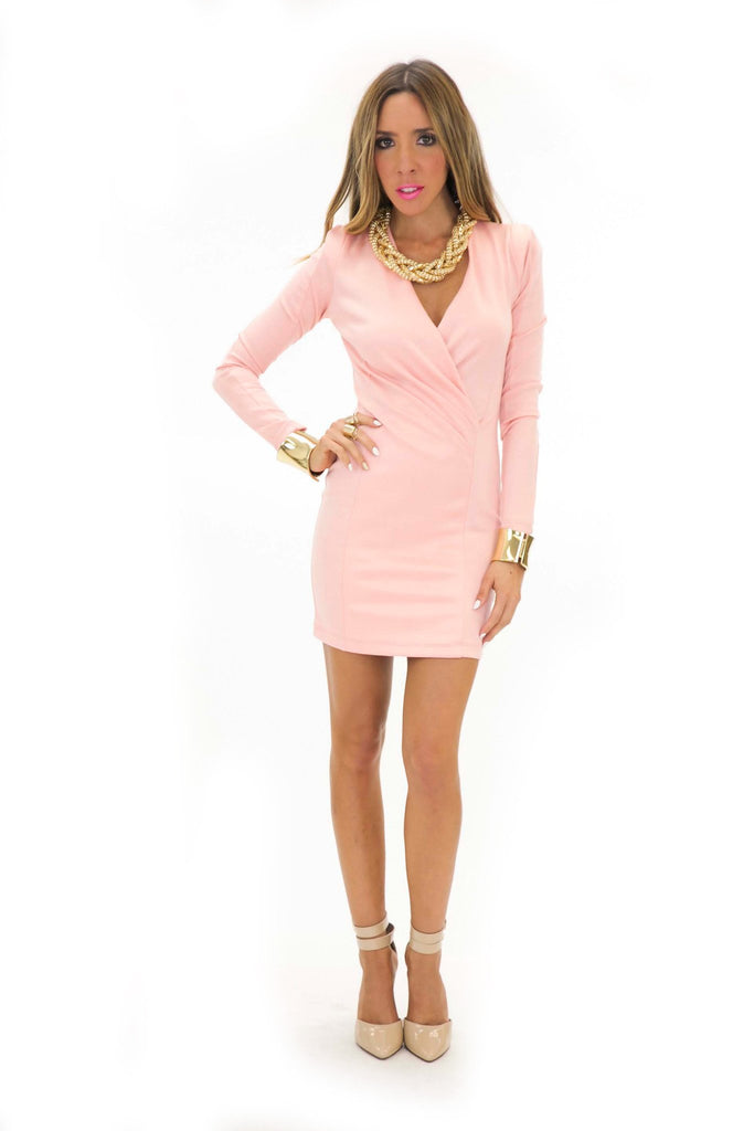 FRANCI DEEP-V BODYCON DRESS - Rose