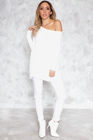 Basic Long Sleeve Bamboo Tee - White