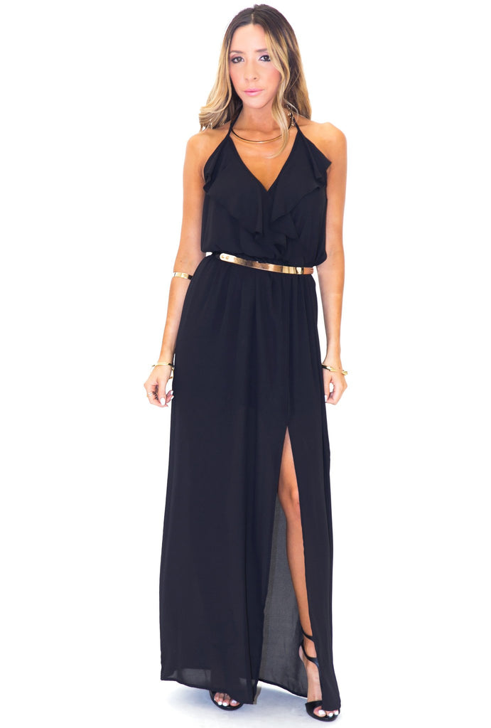 GISELLE RUFFLE MAXI DRESS - BLACK