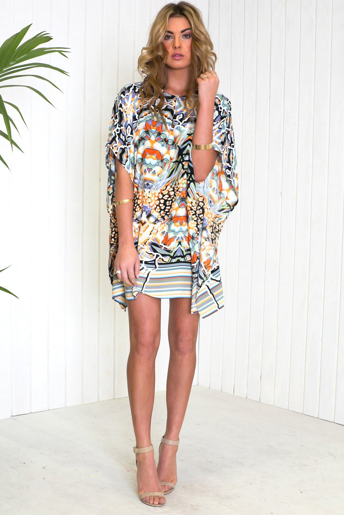 Laciel Print Poncho Dress
