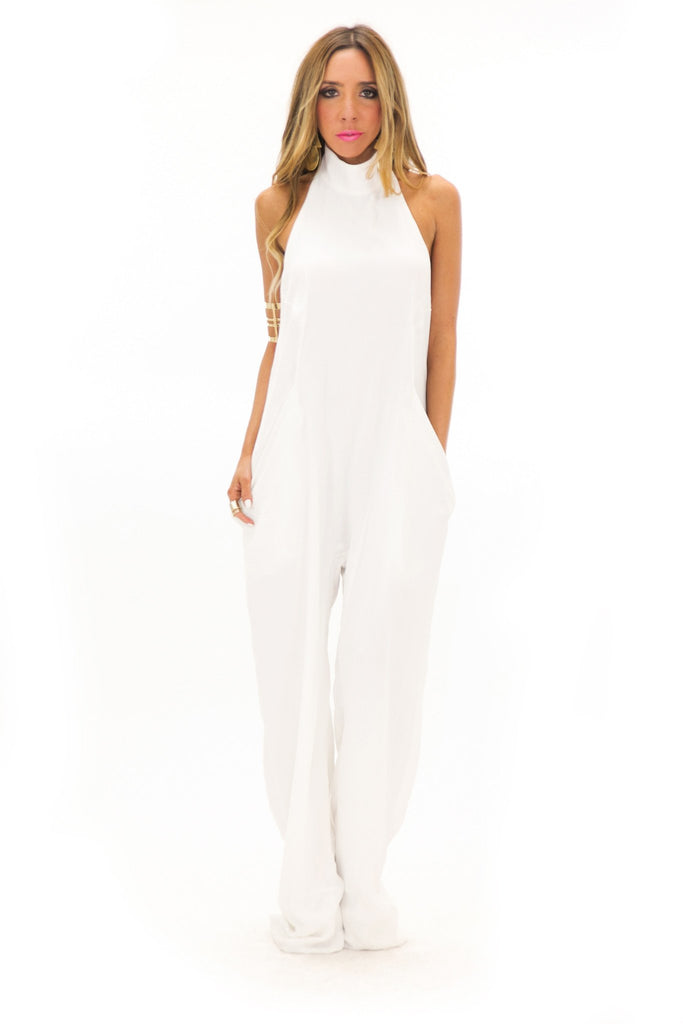LENAI OPEN BACK JUMPSUIT - White - Haute & Rebellious