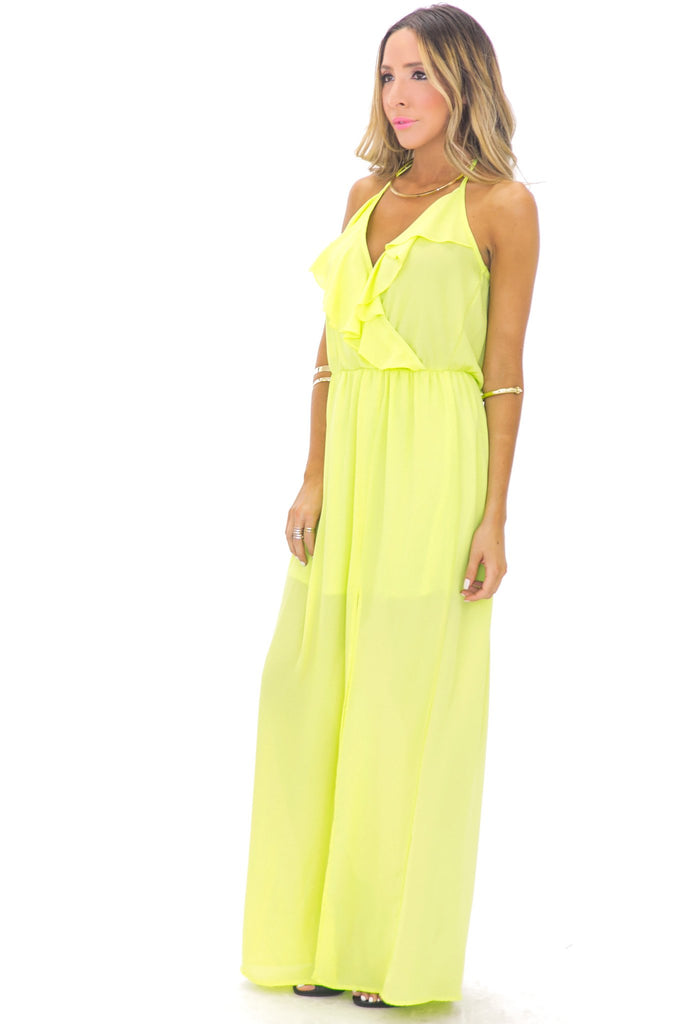 GISELLE RUFFLE MAXI DRESS - LIME GREEN
