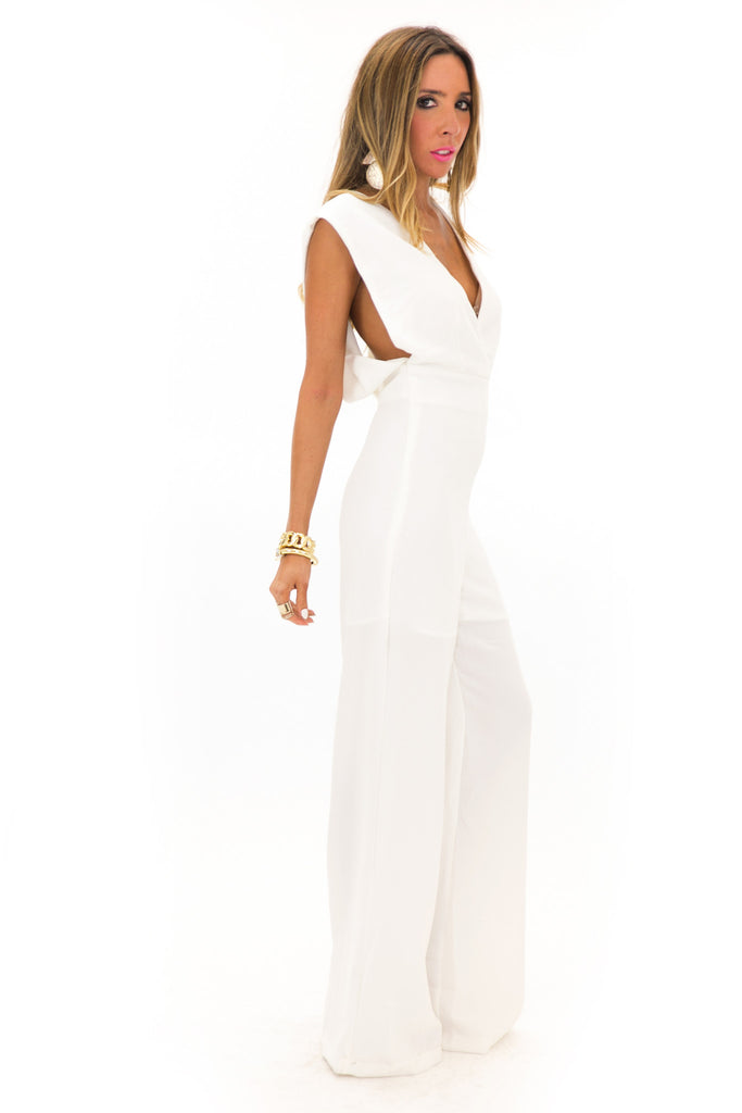 RENA SLEEVELESS DEEP-V JUMPSUIT - Ivory