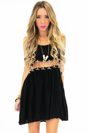 VAL CUTOUT WAIST CHAINED DRESS - Haute & Rebellious