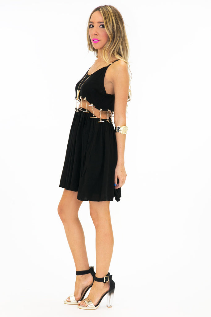 VAL CUTOUT WAIST CHAINED DRESS