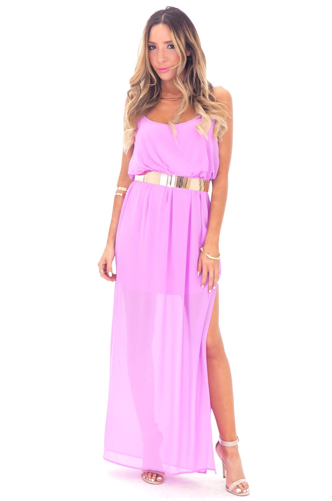 ALLISON CROSS BACK CHIFFON MAXI - PURPLE BLUSH