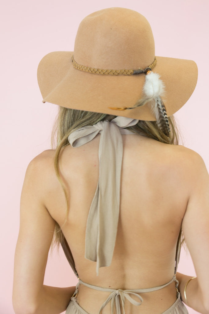 Feather Tassle Hat - Tan
