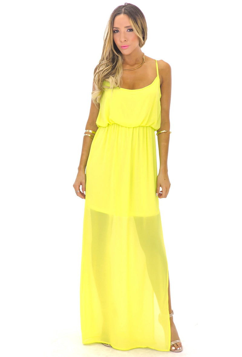 ALLISON CROSS BACK CHIFFON MAXI - LIME GREEN - Haute & Rebellious